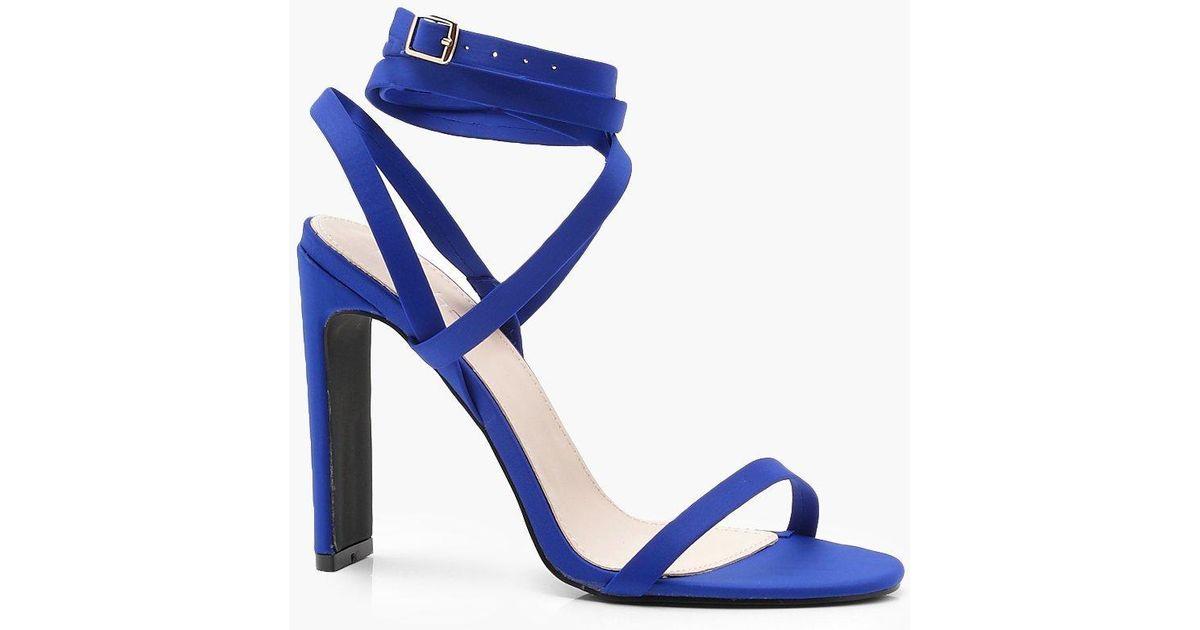 c0af6b48c5fc Lyst - Boohoo Skinny Block Wrap Strap Heels in Blue