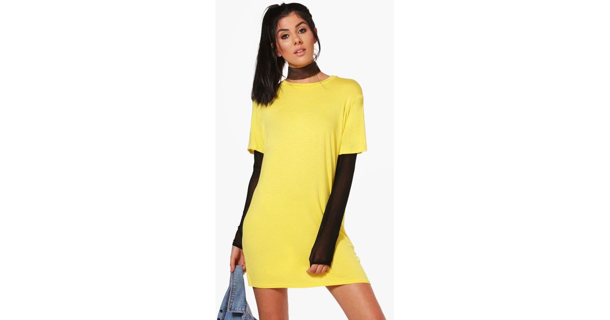 Boohoo Mol Mesh Sleeve Double Layer T Shirt Dress In Yellow Lyst