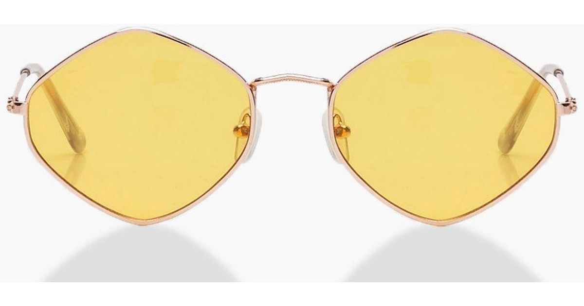 fd10a4960b Boohoo Yellow Lens Vintage Look Sunglasses in Yellow - Lyst