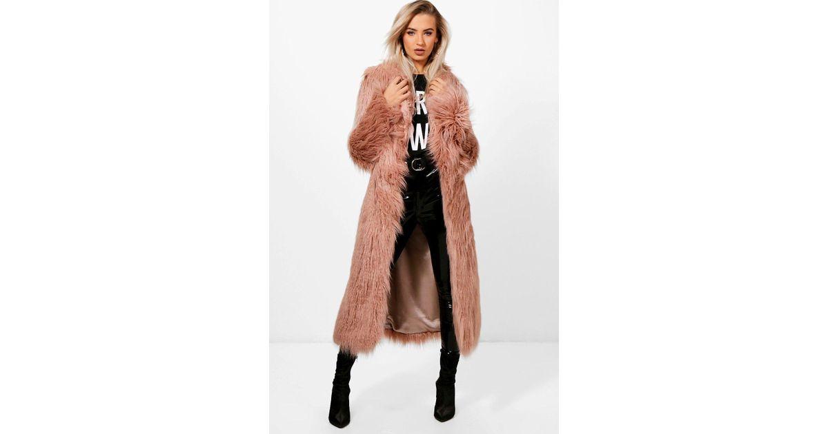 hot-selling discount new arrivals pretty nice Boohoo Pink Boutique Mongolian Maxi Faux Fur Coat