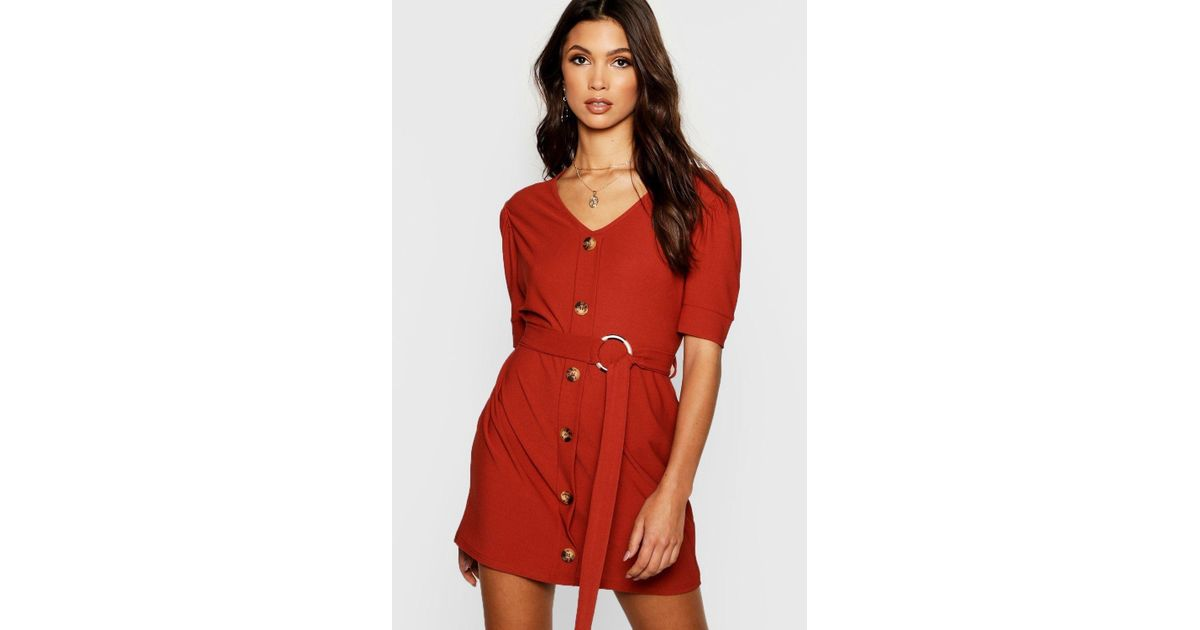 Front Red Boohoo Puff in Dress Sleeve Lyst Shift Button Bx0UrqtFw0