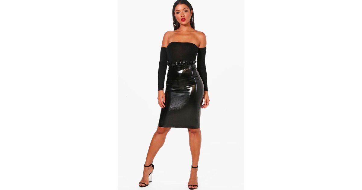 6addf16cbc Boohoo Paperbag Waist Vinyl Midi Skirt in Black - Lyst