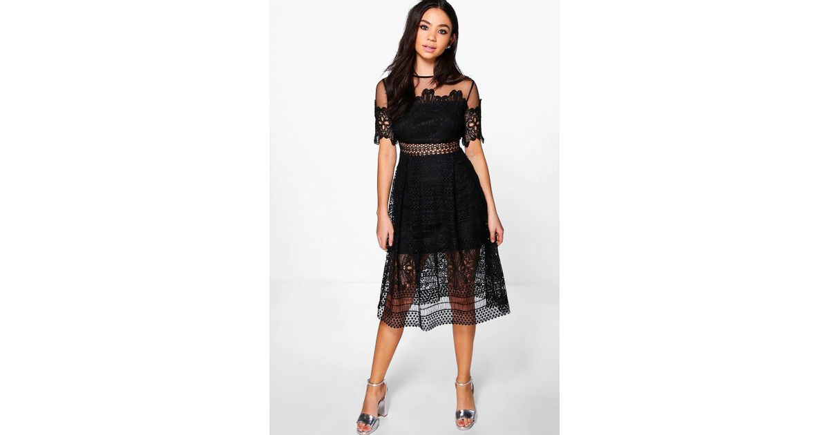 13655a1019a5 Boohoo Boutique Cary Lace Mesh Midi Skater Dress in Black - Lyst