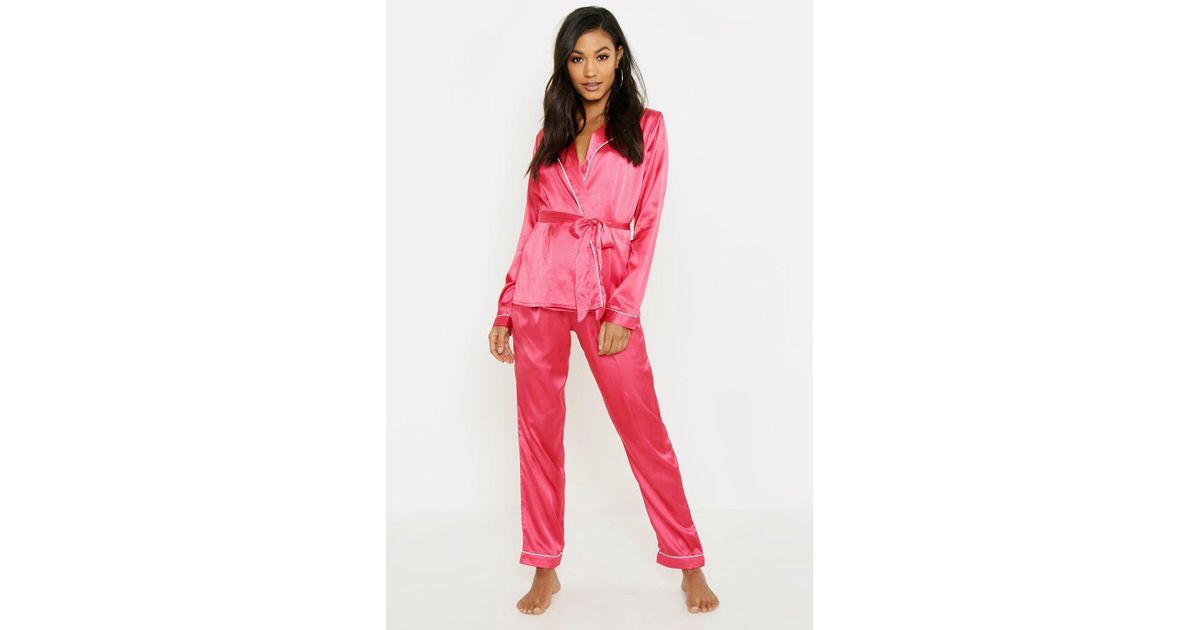 1694f2ce4e2 Boohoo Wrap Front Belted Pj Set in Pink - Lyst