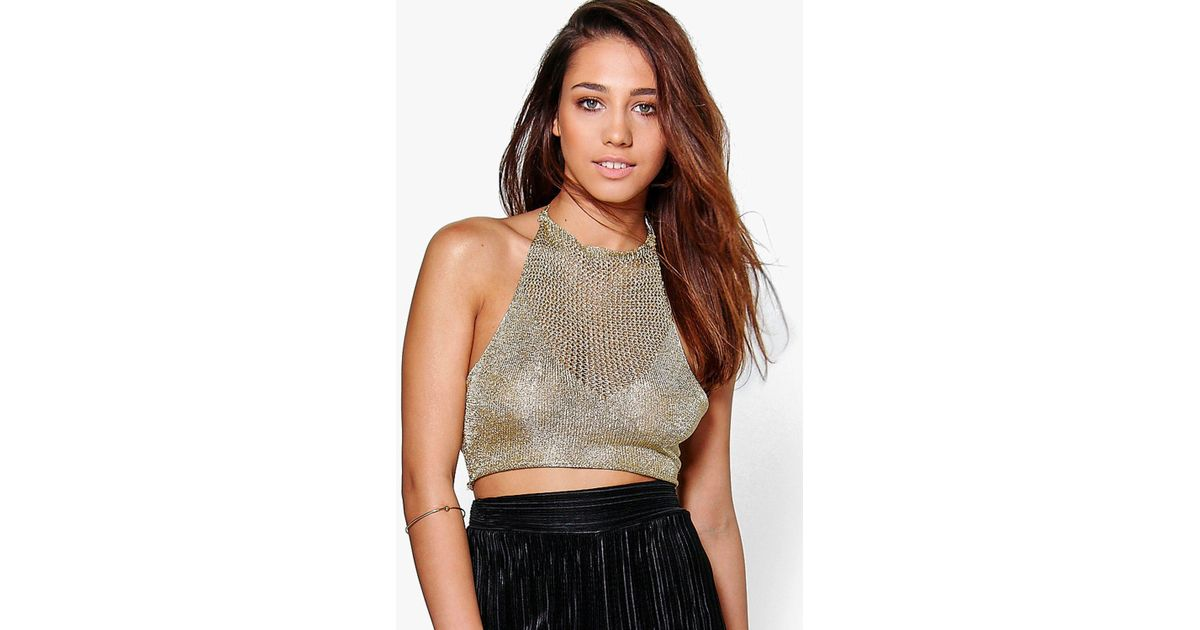 7c5fc90513d5b Lyst - Boohoo Sofia Metallic Knit Halterneck Crop Top in Metallic