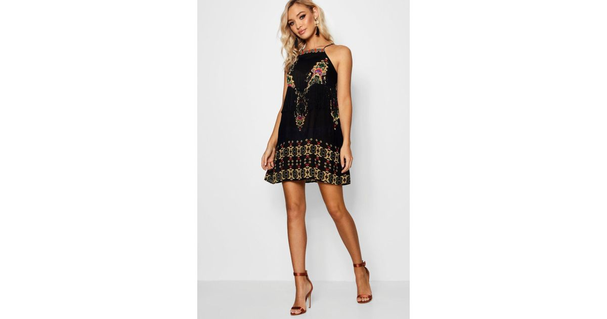 Boohoo Placement Print Tassel Shift Dress Order Online Cheap Order Factory Outlet For Sale Lowest Price For Sale Clearance Latest Collections PuvEGOR