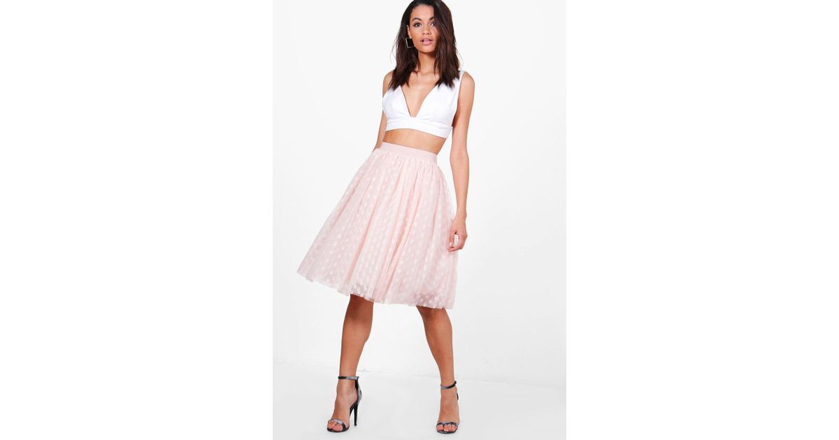 91762d57f9 Lyst - Boohoo Boutique Indira Polka Dot Tulle Full Midi Skirt in Pink