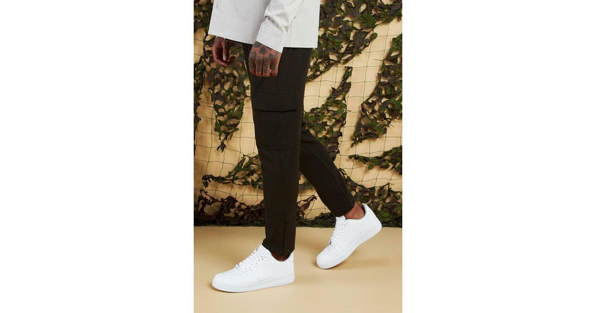 7cfac941fee1 BoohooMAN Plain Utility Pocket Smart Jogger Trouser in Green for Men - Lyst