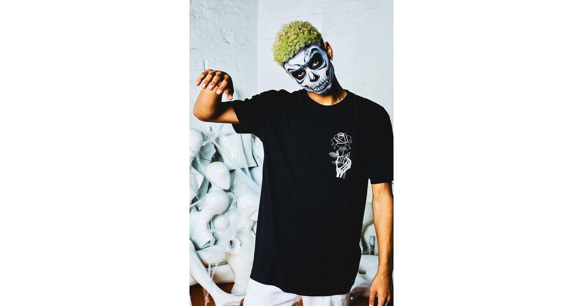 405948ef18bc Boohoo Halloween Oversized Wilted Rose Back Print T-shirt in Black for Men  - Lyst