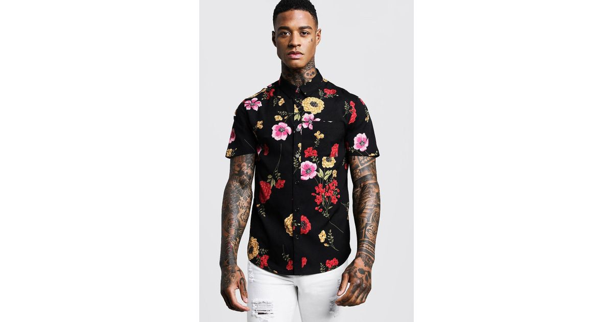 0dd5941a BoohooMAN Red Floral Print Short Sleeve Shirt in Black for Men - Lyst