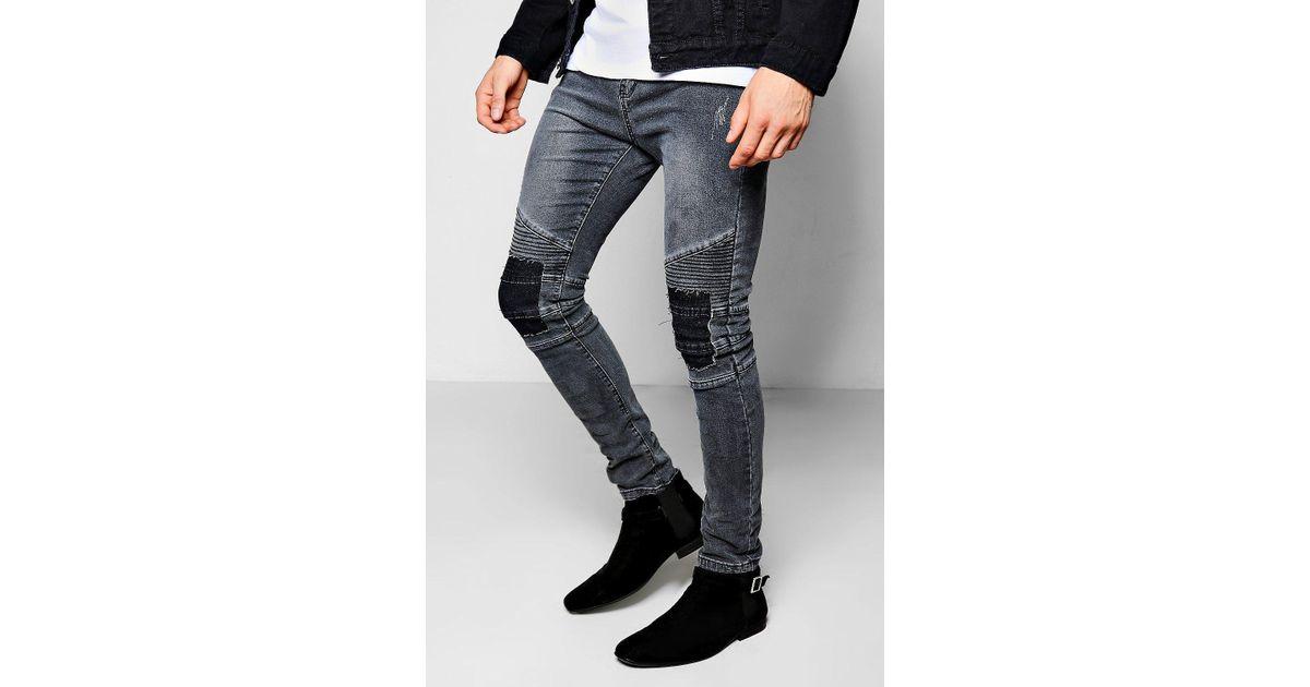 43432425ead0 Boohoo Skinny Fit Charcoal Rip & Repair Biker Jeans in Gray for Men - Lyst