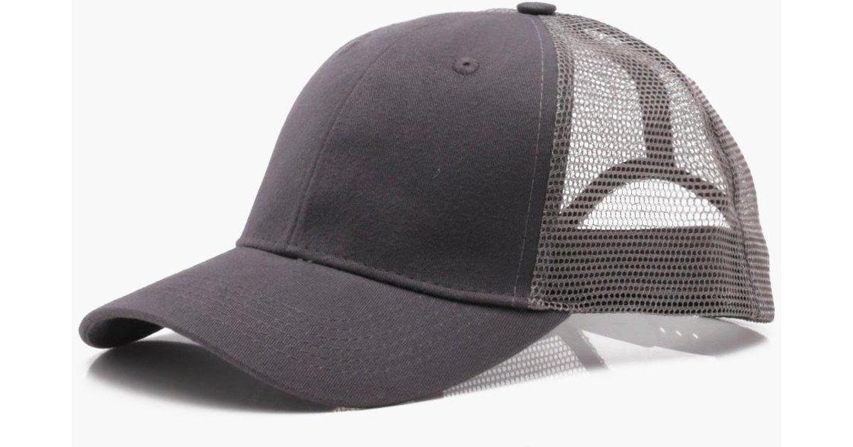 Lyst - Boohoo 6 Panel Cotton Front Trucker Cap in Gray for Men 66e3660e2817