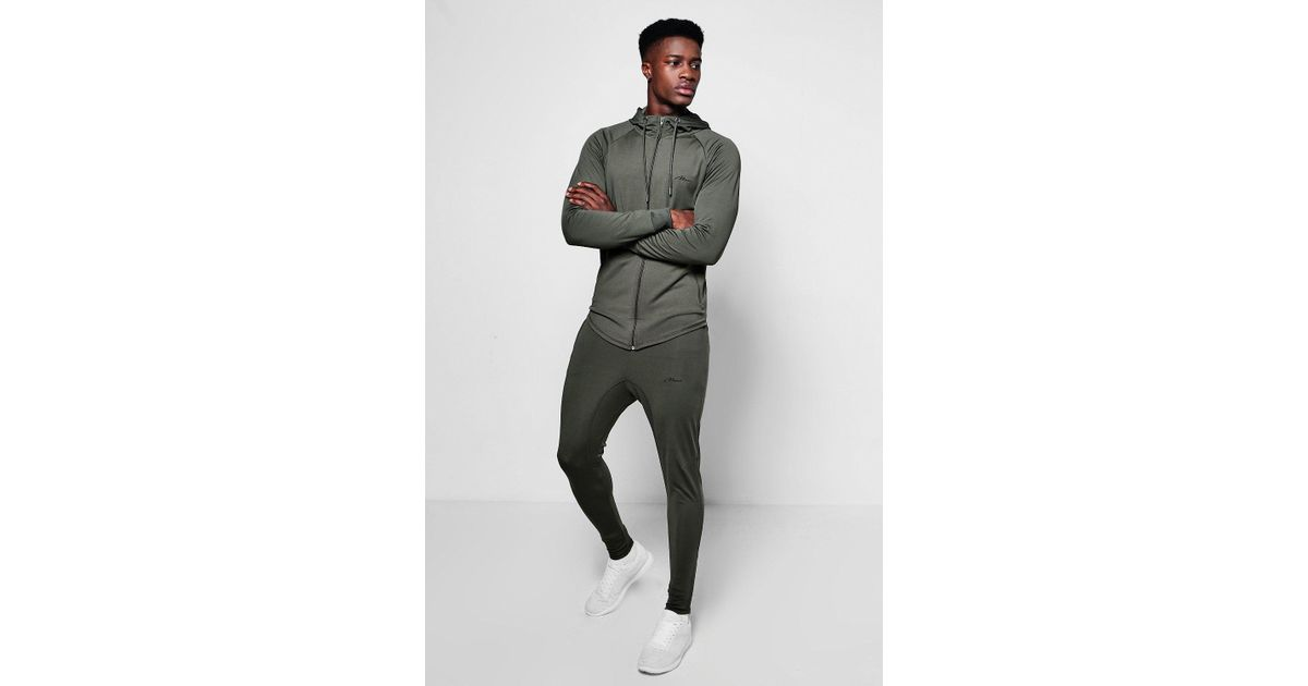 d5bca2d7db Lyst - Boohoo Muscle Fit Man Poly Tracksuit Embroidered in Green for Men