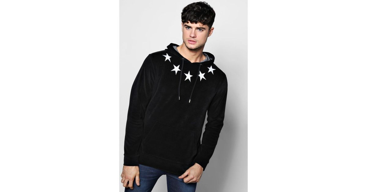 fadbdd0dfd4 Lyst - Boohoo Oth Velour Hoodie With Star Embroidery in Black for Men