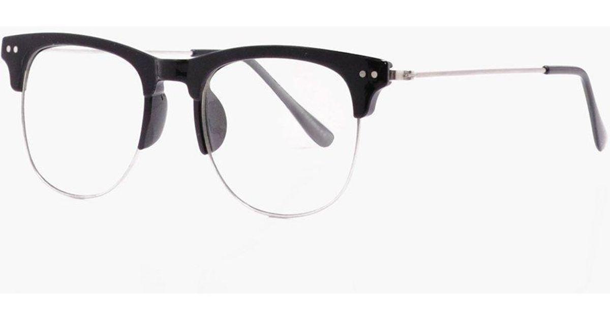 Lyst - Boohoo Black Frame Clear Lense Clubmaster Glasses in Black ...