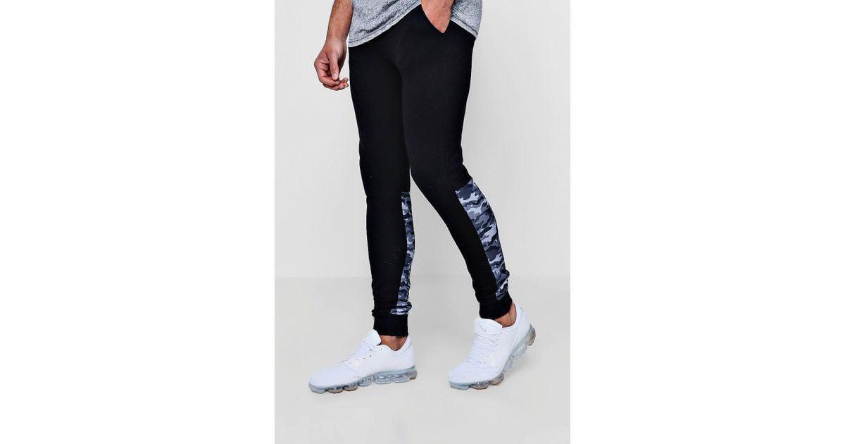 8f790781 BoohooMAN Jersey Camo Panel Super Skinny Joggers in Black for Men - Lyst