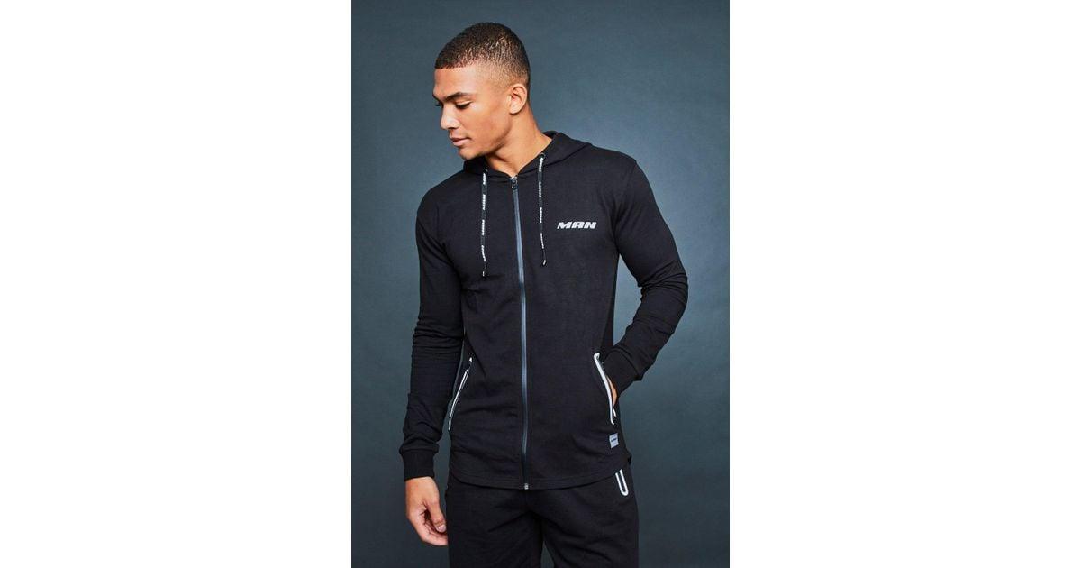 7d007e79f725 Boohoo Man Active Gym Zip Through Hoodie in Black for Men - Lyst