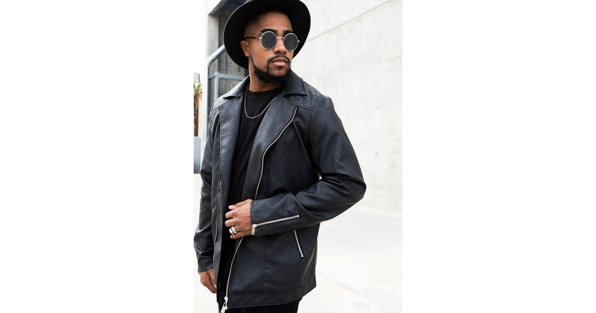 7ca3a9c9e Boohoo - Black Big And Tall Stitch Detail Faux Leather Biker Jacket for Men  - Lyst