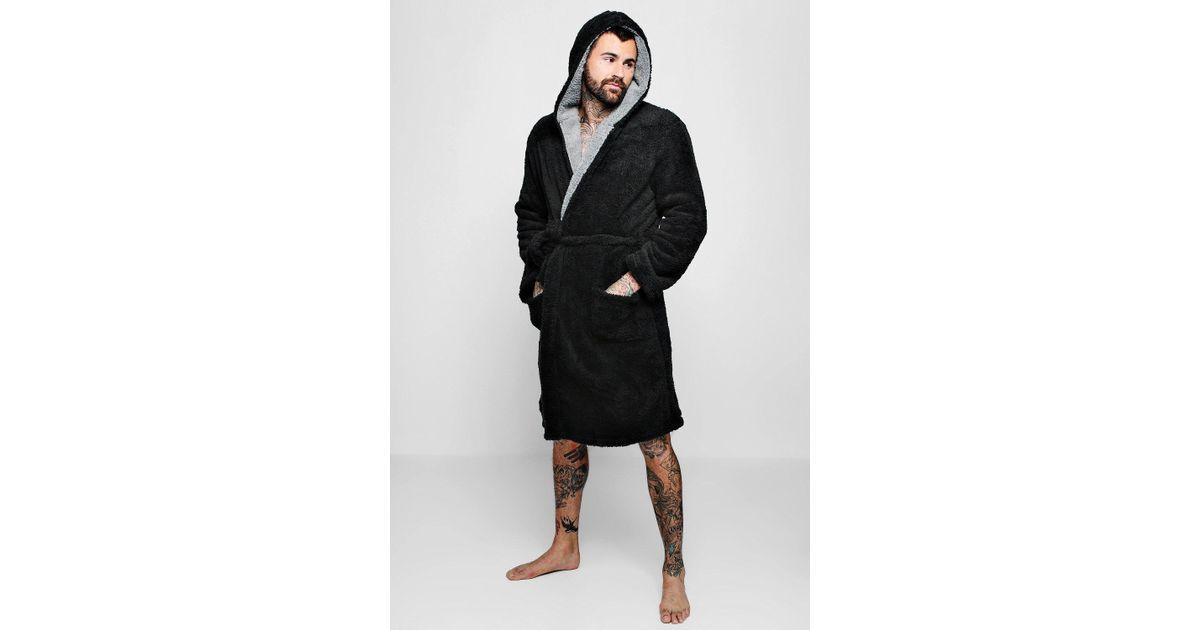 3f384dd0ba3d Lyst - BoohooMAN Mens Shaggy Fleece Robe With Contrast Lining in Black for  Men