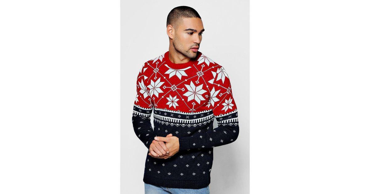 5448b9bbce9 BoohooMAN - Red Christmas Colour Block Fairisle Sweater for Men - Lyst