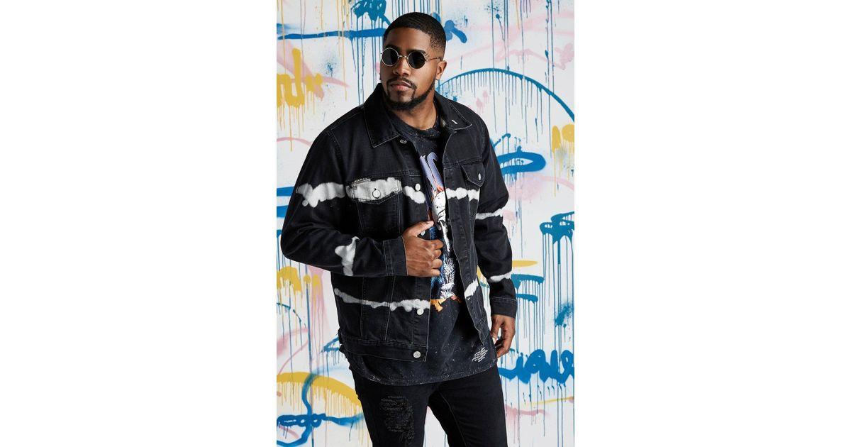 4692184db74 Lyst - BoohooMAN Big   Tall Quavo Black Tie Dye Denim Jacket in Black for  Men