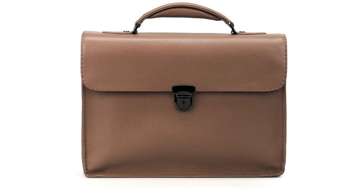Zanellato Mestro Dollarone brown briefcase V32VaC3ckn