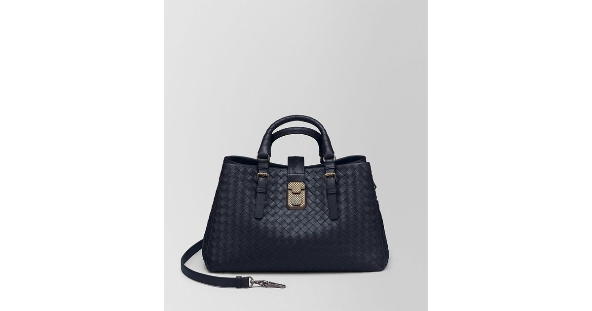 ddc4184dedd24 Bottega Veneta Dark Cement Intrecciato Calf Roma Bag in Blue - Lyst