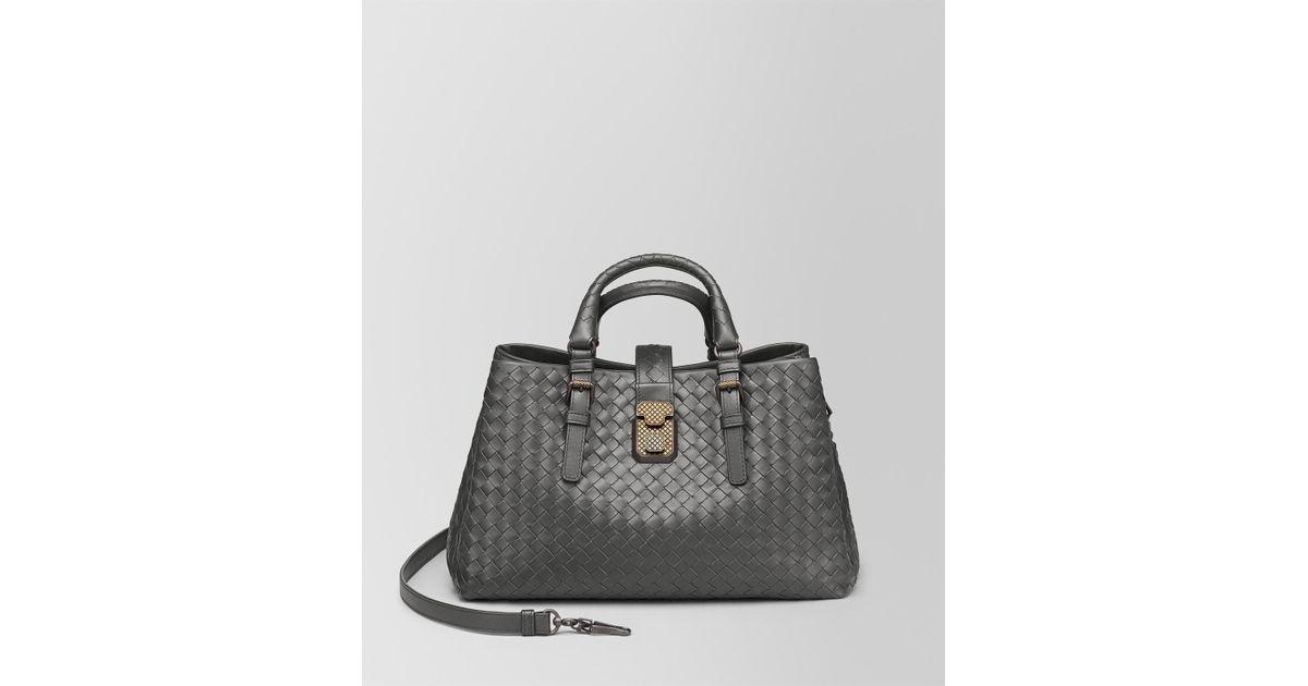 Lyst - Bottega Veneta Nero Intrecciato Calf Small Roma Bag in Gray ed2e1cb96be5e