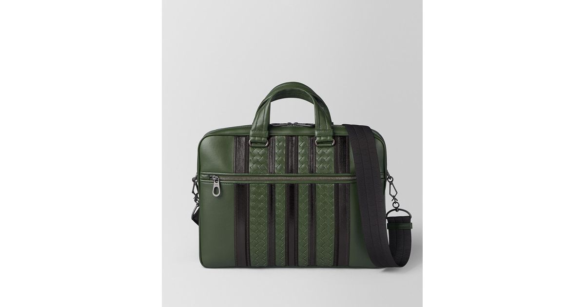 Lyst - Bottega Veneta Forest nero Nappa Tech Stripe Briefcase in Green for  Men a2a4f332a9