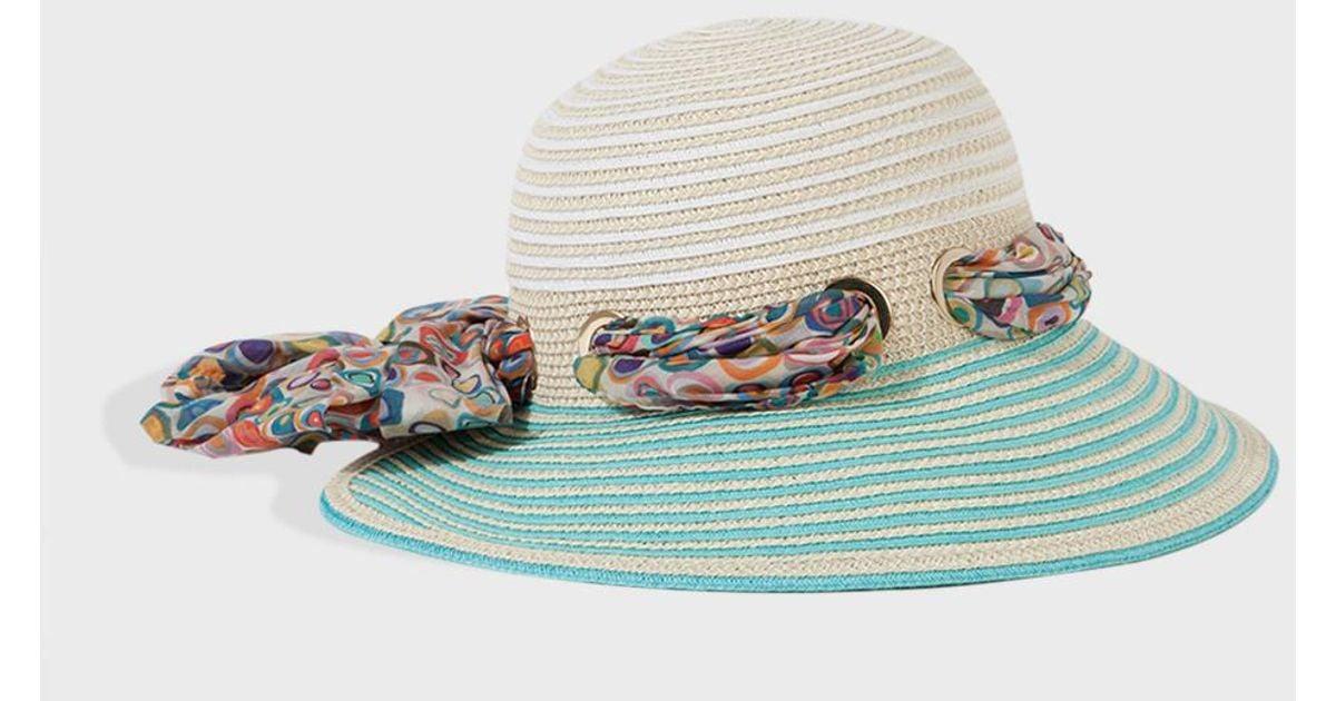Lyst - Missoni Scarf Tie Sun Hat in Natural 464dccb0ada