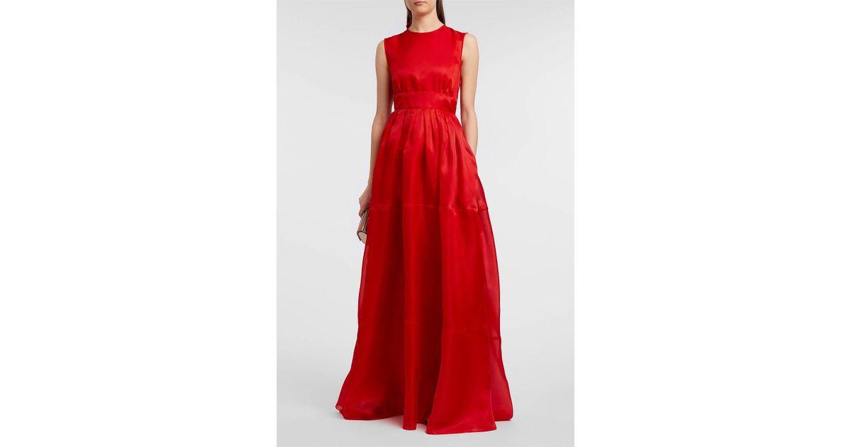 Lyst - Rochas Silk-organza Gown in Red
