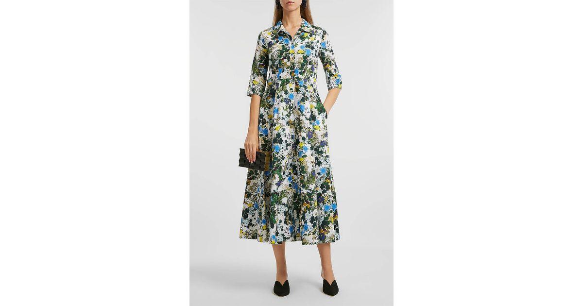 Lyst a de Vestido con pierna estampado talla Erdem media mujer Kasst de floral algodón blanco Uk12 aqw1vq