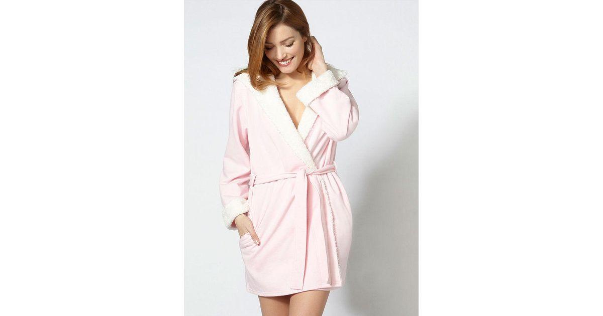 6ac6ac7221 Lyst - Boux Avenue Sherpa Hooded Robe in Metallic
