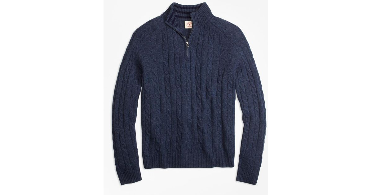 Brooks brothers Cable-knit Wool-blend Half-zip Sweater in Blue for ...
