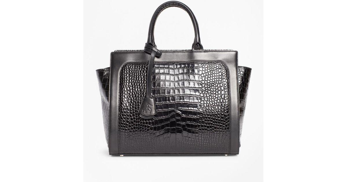 901d1bd359 Lyst - Brooks Brothers Crocodile-embossed Leather Handbag in Black