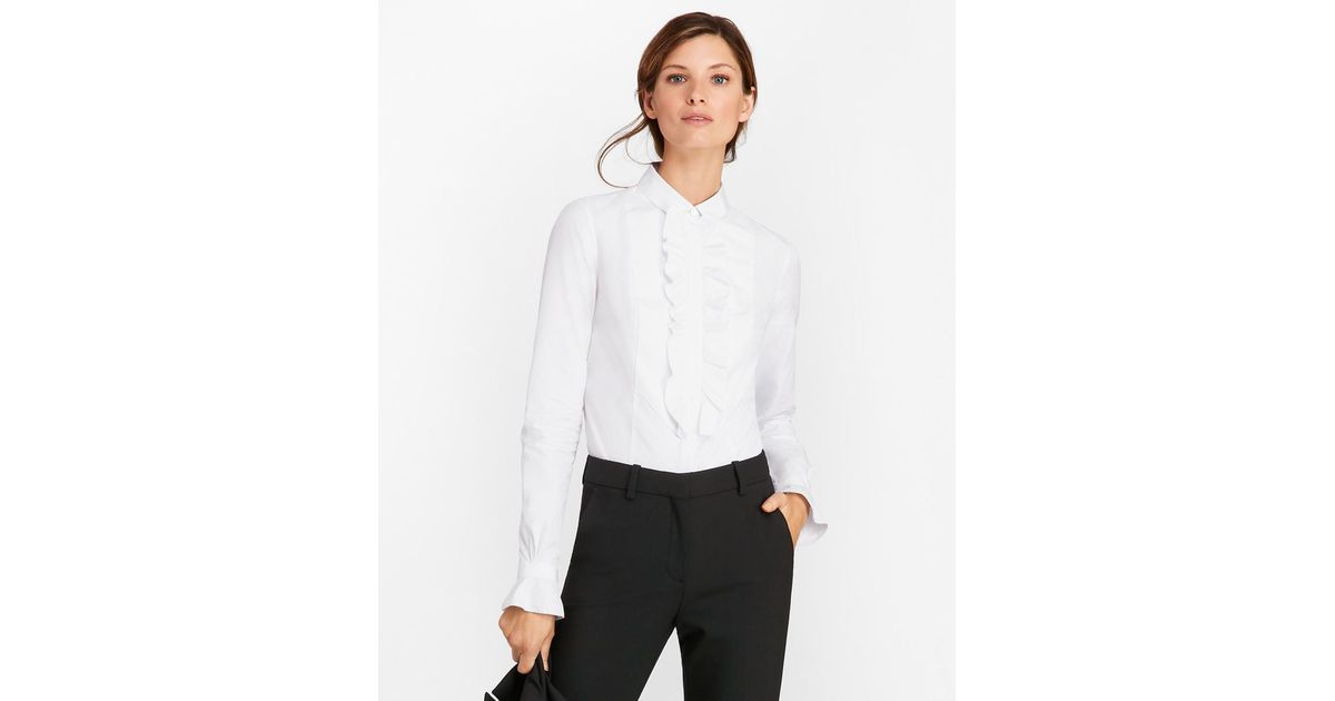 cc5d672d75674 Lyst - Brooks Brothers Petite Tailored-fit Cotton Dobby Tuxedo Shirt in  White