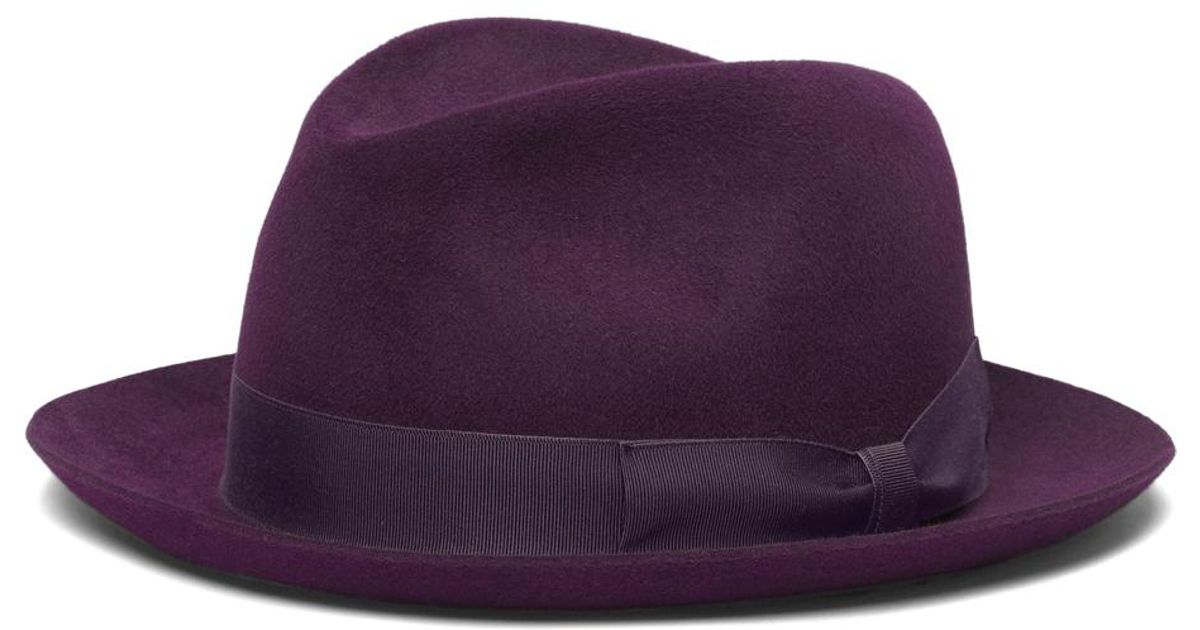 906080e4324c3 Lyst - Brooks Brothers Tonal Ribbon Fedora in Purple for Men