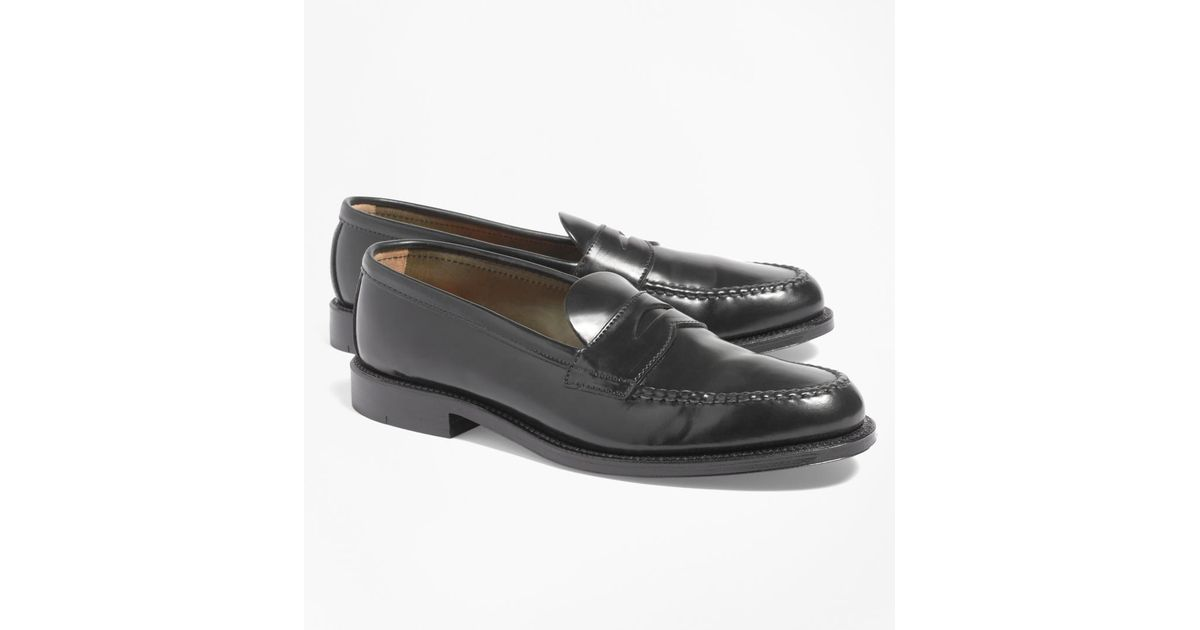 091dbee6f61 Lyst - Brooks Brothers Cordovan Unlined Penny Loafers in Black for Men -  Save 25%