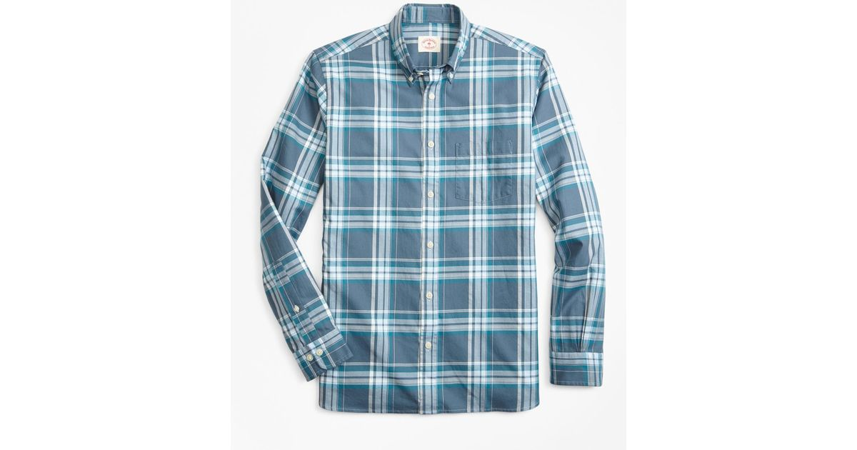 b90c9896f62 Lyst - Brooks Brothers Plaid Summer Twill Sport Shirt in Blue for Men -  Save 20%