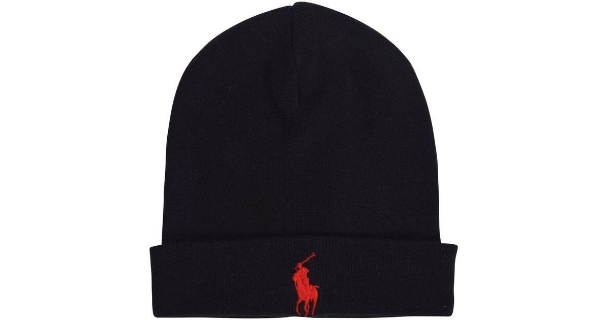 9942f5b3596 Polo Ralph Lauren Fold Over Beanie Hat in Black for Men - Lyst