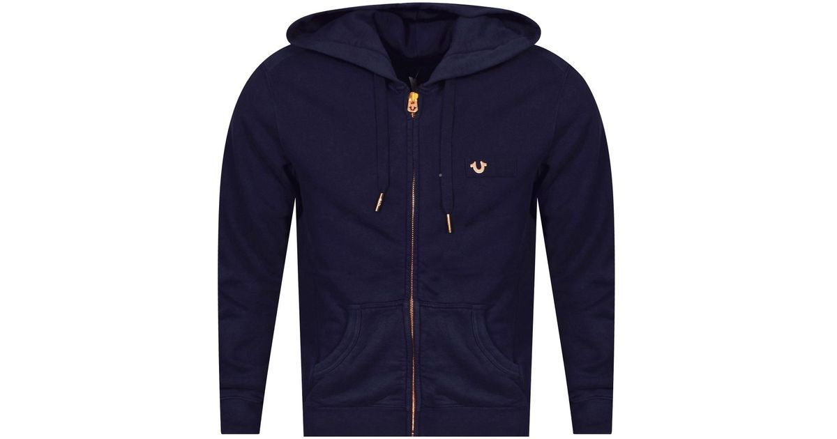 90a8488df True Religion Navy rose Gold Zip Up Hoodie in Blue for Men - Lyst