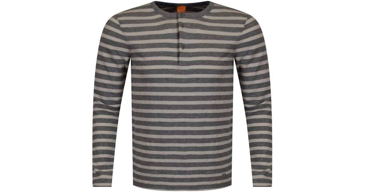 f6e65b898 Lyst - BOSS by Hugo Boss Grey/off White Striped Button Neck Long Sleeve T- shirt in Gray for Men