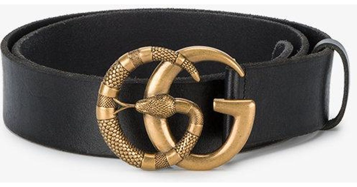 df69241358c Gucci Leather Belt With Double G Buckle With Snake Black