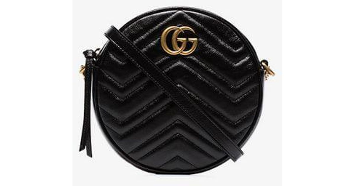f4825f7f3732db Gucci Black GG Marmont Mini Round Shoulder Bag in Black - Lyst