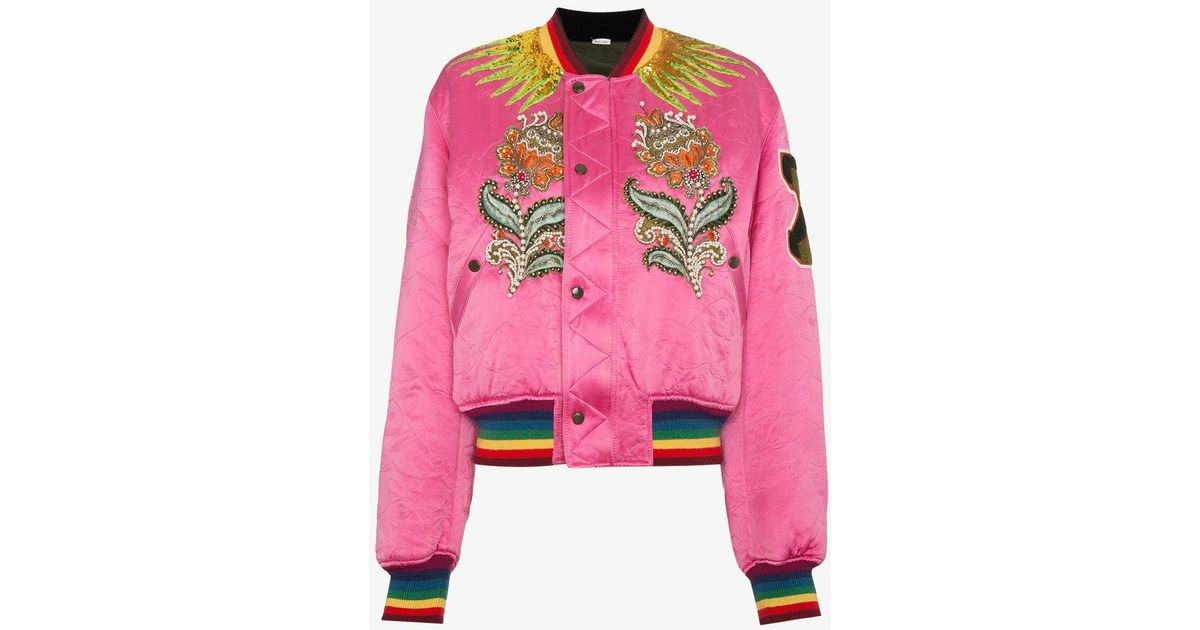 2d6d66cc6a21f Gucci Embroidered Reversible Bomber Jacket in Pink - Lyst