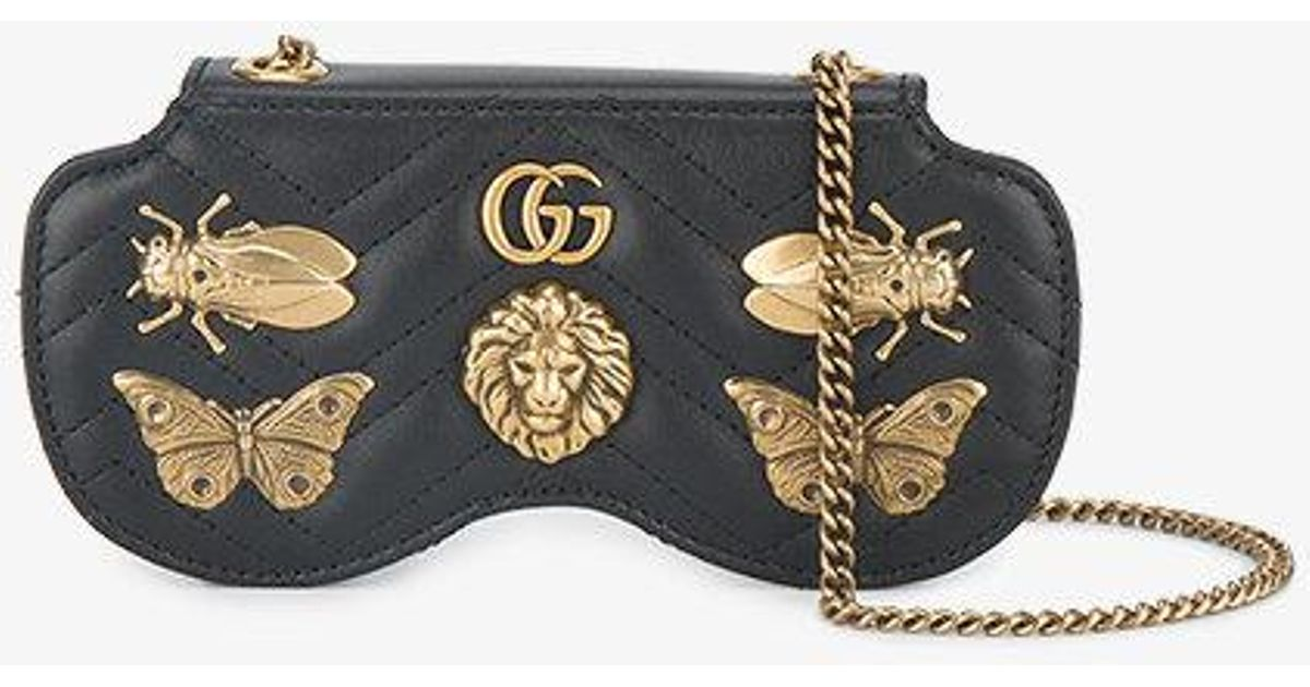 9d03f75260ff65 Gucci Gg Marmont Bug Embellished Sunglasses Case in Black - Lyst