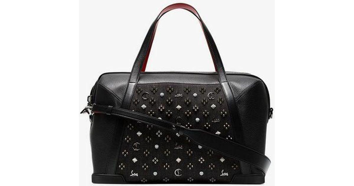 c2547da4acfe Lyst - Christian Louboutin Black Logo Embellished Leather Holdall in Black  for Men