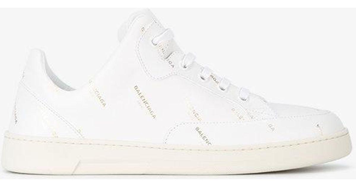 f83679c63ce5 Lyst - Balenciaga Base Logo Print Sneakers in White BALENCIAGA MENS TRIPLE S  ...