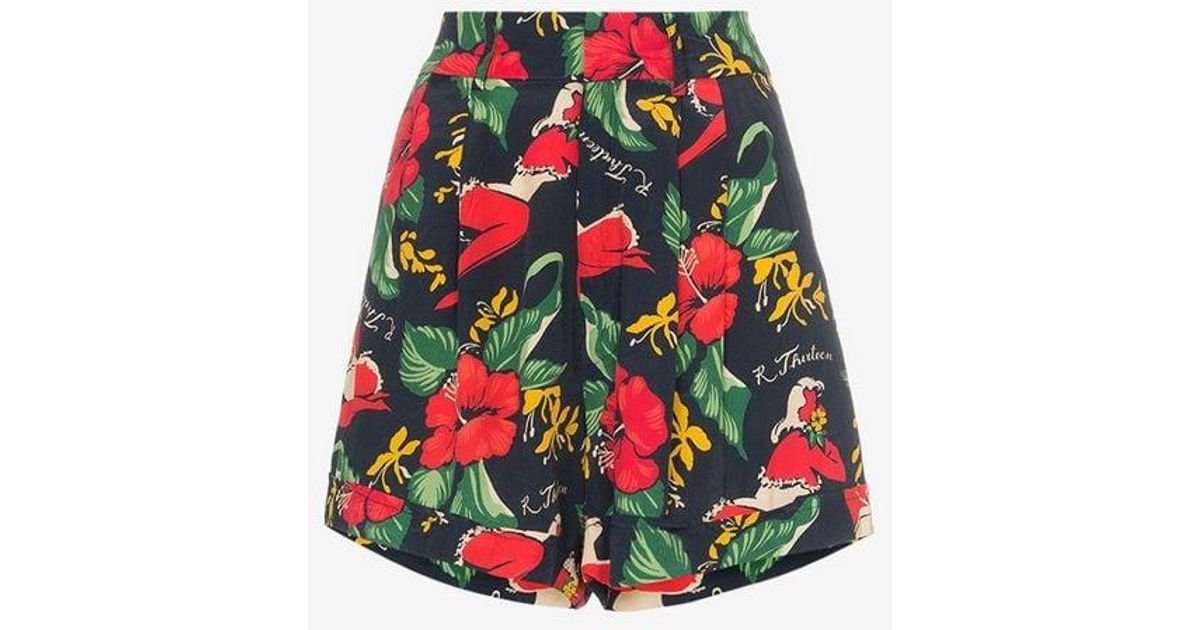 3888881b7 R13 Hawaiian Floral Print Shorts in Red - Lyst