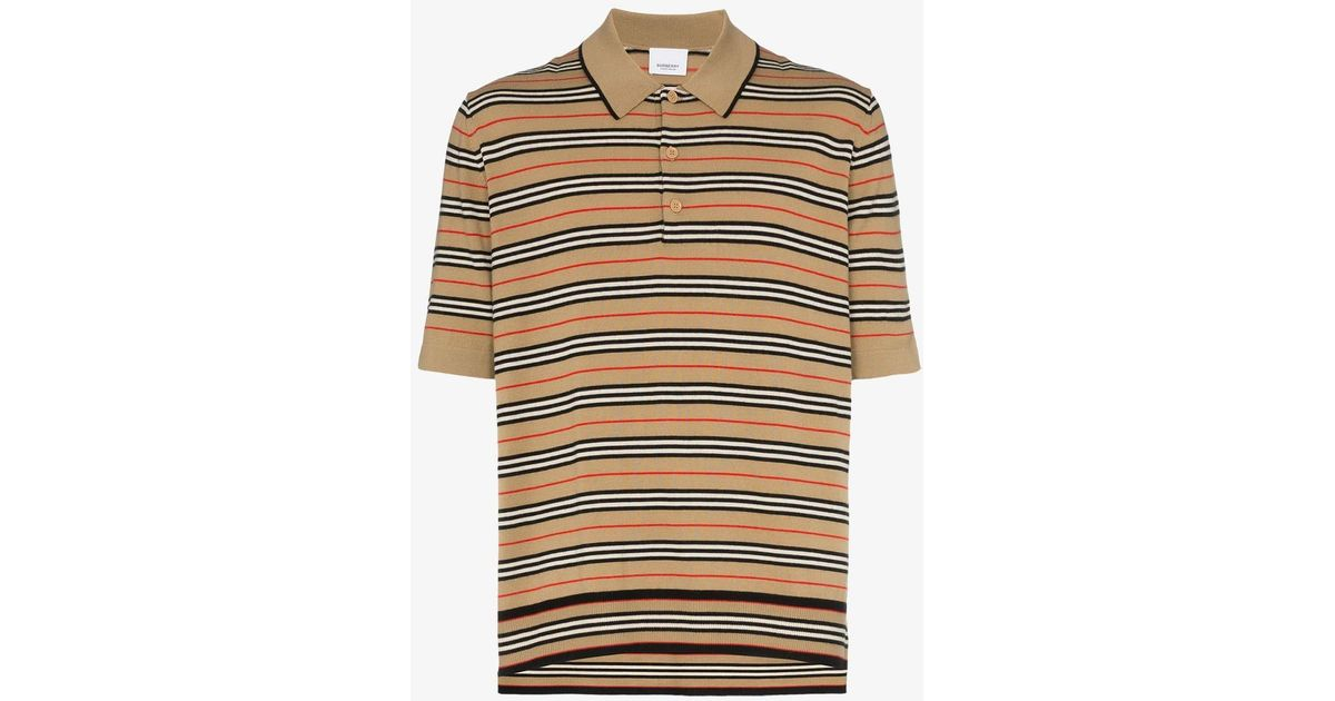 d6052173 Lyst - Burberry Beaford Striped Merino Wool Polo Shirt in Natural for Men